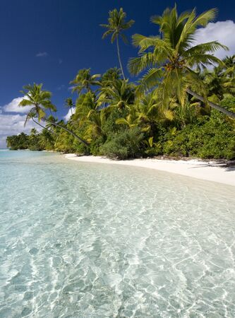 south pacific ocean: The tropical paradise of Aitutaki lagoon in the Cook Islands in the South Pacific Ocean.