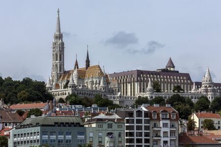 View of the Budapest skyline and the Matyas Church or Matthias Church or the Church of Our Lady of Buda in Budapest, Hungary. Stock Photo