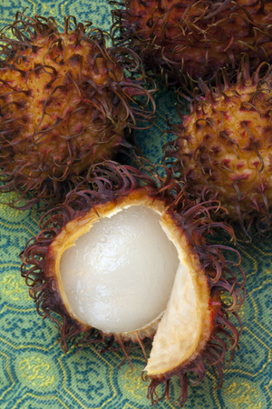 sized: Rambutan are red, plum-sized tropical fruits with soft spines and a slightly acidic taste. The rambutan tree is native to Indonesia and Malaysia.