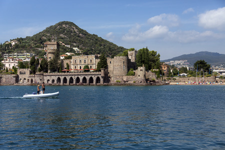 Chateau de la Napoule, a fortified castle which dates from the 14th centuryin the resort of Mandelieu-la-Napoule, a commune in the Alpes-Maritimes department in southeastern France, located on the French Riviera, southwest of Cannes. Editorial