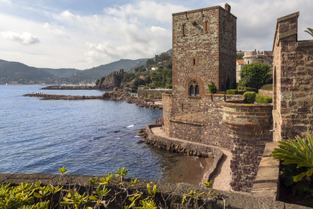 Chateau de la Napoule, a fortified castle which dates from the 14th centuryin the resort of Mandelieu-la-Napoule, a commune in the Alpes-Maritimes department in southeastern France, located on the French Riviera, southwest of Cannes. Standard-Bild