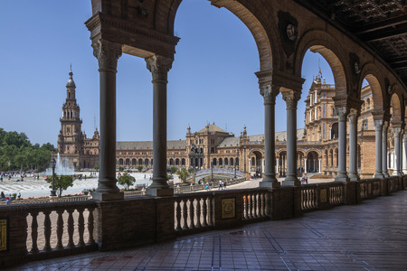 Plaza de Espana in the city of Seville in the Andalusia region of Spain. UNESCO World Heritage Site.