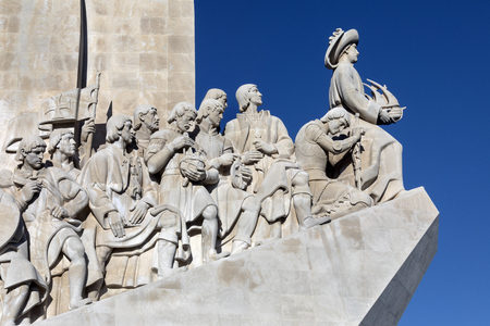 Monument of the Discoveries, Lisbon, Portugal - a monument on the northern bank of the Tagus River estuary, in the civil parish of Santa Maria de Belem. Located along the river where ships departed to explore and trade with India and Orient, the monument