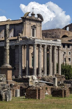 portico: Temple of Antoninus and Faustina in the Roman Forum in Rome, Italy. Adapted as a Roman Catholic church, the Chiesa di San Lorenzo in Miranda or simply San Lorenzo in Miranda.