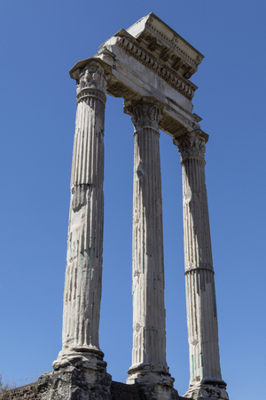 The Temple of Castor and Pollux in the Roman Forum, Rome, Italy.