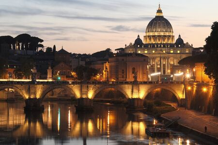 St. Peters Basilica, Vatican City - the administrative centre of the Roman Catholic Church and a country located within the city of Rome. With an area of approximately 44 hectares (110 acres), and a population of approx. 1,000 it is the smallest state in Stock Photo