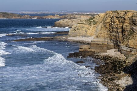 Atlantic breakers on the cliffs at Peniche on the coast of Portugal