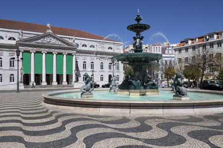 City of Lisbon - Portugal. Fountain near the Teatro National Theater in Rossio Square (official name - Praca de D. Pedro IV). Editorial