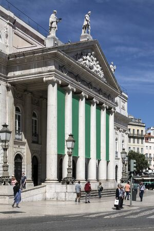 City of Lisbon - Portugal. The Teatro National Theater in Rossio Square.