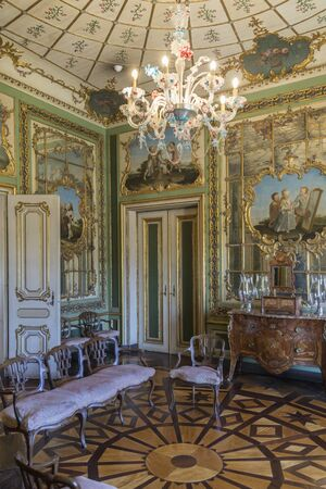 marqueteria: The National Palace of Queluz - Lisbon - Portugal. The Queens Boudoir with a trellis design in the marquetry floor. This was one of the private rooms used by Queen Maria 1st during her time at Queluz.