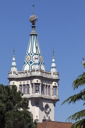 시립 건물의 Sintra, 포르투갈 리스본 근처의 타워. 지방의 시민 행정부를 수용하기 위해 지어졌습니다.