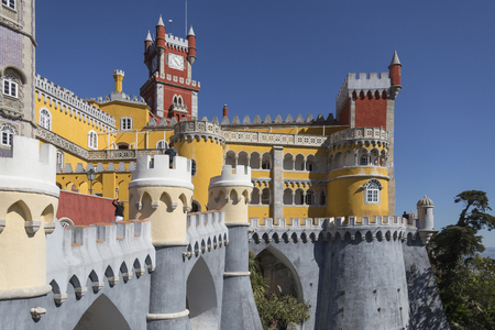 The Pena National Palace at Sintra near Lisbon in Portugal. Originally built on the Monastery of Nossa Senhora da Pena, and renovated extensively through the initiative of Ferdinand II of Portugal.