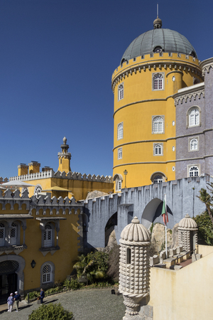 senhora: The Pena National Palace at Sintra near Lisbon in Portugal. Originally built on the site of the Monastery of Nossa Senhora da Pena, it was renovated extensively by Ferdinand II of Portugal.