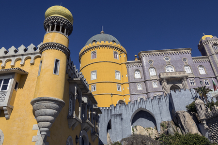 Architectural detail on the Pena National Palace at Sintra near Lisbon in Portugal.  A UNESCO World Heritage Site.
