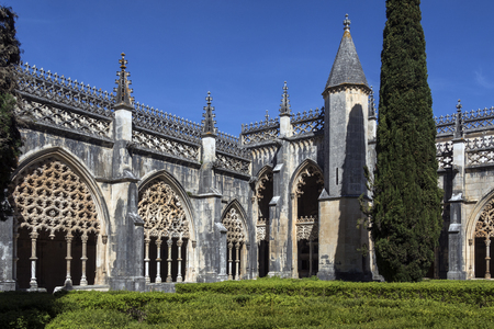 Cloisters in the Monastery of Batalha - a Dominican convent in the town of Batalha, in the Centro Region of Portugal. it was erected in commemoration of the 1385 Battle of Aljubarrota, and was the burial church of the 15th Century Aviz dynasty of Portugue