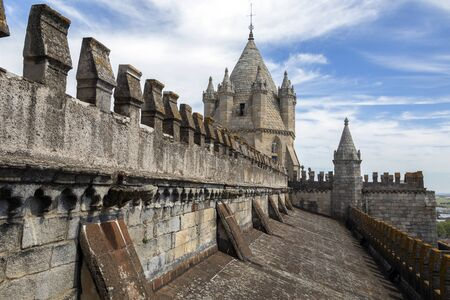 Rooftop of Evora Cathedral (the Se) in the city of Evora in Portugal. Stock Photo
