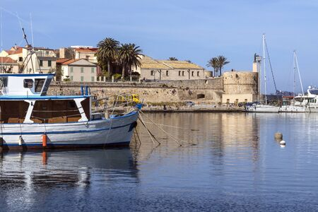 The port of Alghero in the province of Sassari on the northwest coast of the island of Sardinia, Italy.