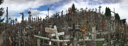 The Hill of Crosses - a site of pilgrimage in northern Lithuania. Over the generations, crosses, crucifixes, statues of the Virgin Mary and thousands of tiny effigies and rosaries have been placed here by Catholic pilgrims.