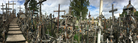 The Hill of Crosses - a site of religious pilgrimage near Siauliai in northern Lithuania. Over the generations, many thousands of crosses, crucifixes, statues of the Virgin Mary, tiny effigies and rosaries have been placed here by Roman Catholic pilgrims