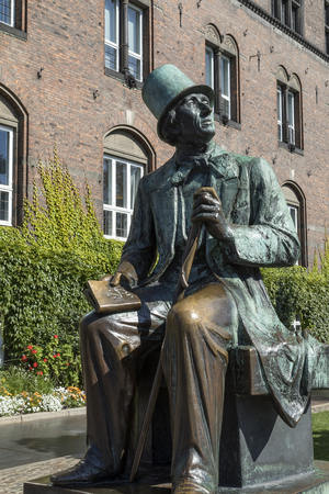 Copenhagen - Denmark. Statue of Hans Christian Andersen - a Danish author remembered for his fairy tales. Andersens fairy tales, of which no less than 3381 works have been translated into more than 125 languages, have become culturally embedded in the We