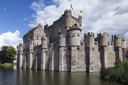 The Gravensteen - a medieval castle in the city of Ghent in Belgium. The present castle was built in 1180 by count Philip of Alsace to replace a 9th century wooden castle.