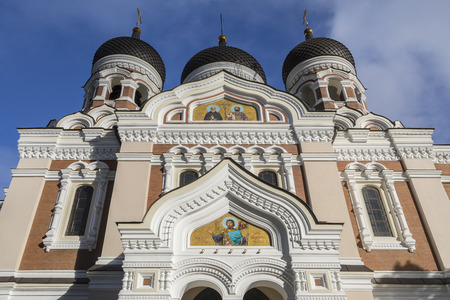 The Alexander Nevsky Cathedral on Toompea Hill in the Tallinn Old Town in Estonia. An Eastern Orthodox Church built in the Russian Revival style between 1894 and 1900, during the period when the country was part of the Russian Empire.