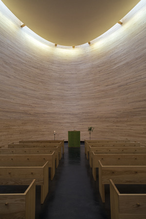 Helsinki, Finland. The Kamppi Chapel - a Lutheran chapel in Narinkka Square. It is also known as the Chapel of Silence since it is intended to be a place to calm down and have a moment of silence in one of the busiest areas in Helsinki. Redakční