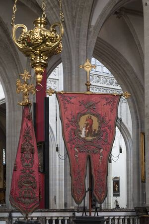 Religious regalia and the interior in the Cathedral of Our Lady in the city of Antwerp in Belgium.