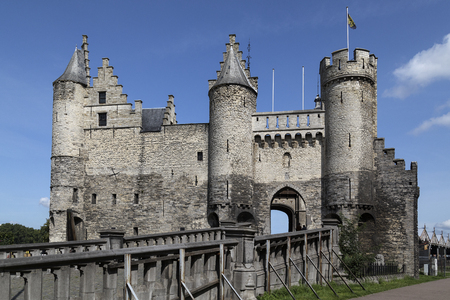 Het Steen in Antwerp, Belgium. Although Antwerp was formerly a fortified city, hardly anything remains of these fortifications. This castle is a 19th century replica.