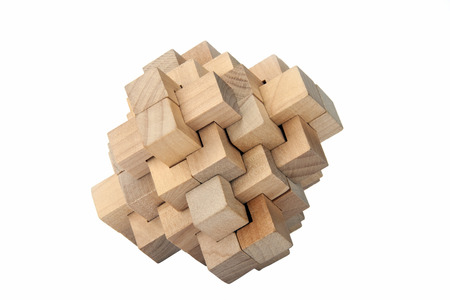 A complicated wooden puzzle - Isolated