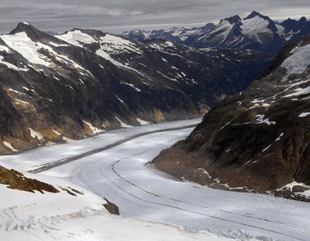 알래스카, 미국 주노 얼음 필드에서 빙하의 공중보기.