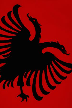The Flag of Albania is a red flag, with a silhouetted black double-headed eagle in the center, that represents the sovereign state of Albania located in the Balkans.