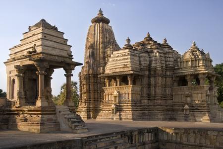 The Kandariya Mahadev Jian Temple complex in the town of Khajuraho in the Madhya Pradesh region of India.