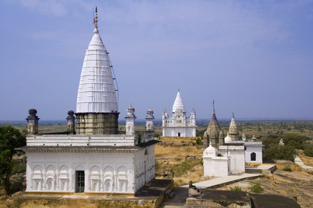 Some of the 77 Jian Temples at Sonagiri in the Madhya Pradesh region of India. Sonagiri is about 60 km from Gwalior. Its Jain temples date from the 9th & 10th century. Stock Photo