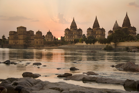The Cenotaphs (chhatris) of the Bundela Kings in Orchha in the state of Madhya Pradesh in central India