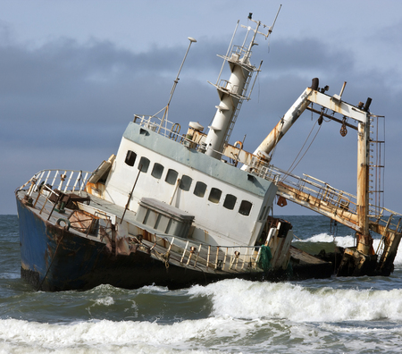 A shipwreck on the Skeleton Coast in Namibia