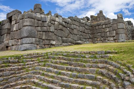 Inca stonework at Sacsayhuaman near Cuzco in Peru.