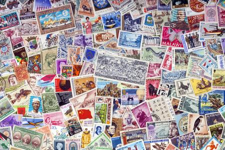 Philately - Worldwide commemorative postage stamps collection. Editorial