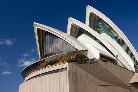 The iconic architecture of the Sydney Opera House in the city of Sydney in Australia.