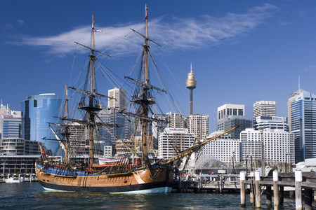 Replica sailing ship 'Endurance' in Darling Harbor in the city of Sydney, New South Wales, Australia.