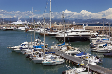 The harbor in the resort of Antibes on the Corniche de lEsterel on the Cote dAzur in the South of France.