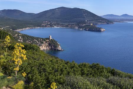 View from the headland of Capo Caccia on the northwest coast of Sardinia in Sassari Province, Italy. Stock Photo