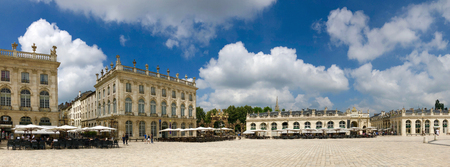 Panoramic view of Place Stanislas - a large pedestrianised square in the city of Nancy, in the Lorraine region of France. A UNESCO World Heritage Site.
