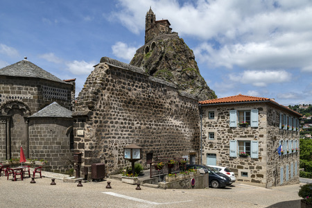 The Chapel of St Michel-dAiguilhe in the city of Le Puy-en-Velay in the Auvergne-Rhone-Alpes region of south-central France. Built in 969 on a volcanic plug 85m (279 ft) high. The chapel is reached by 268 steps carved into the rock. Redakční