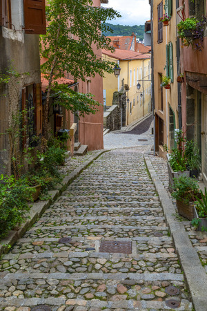 Street in the city of Le Puy-en-Velay in the Auvergne-Rhone-Alpes region of south-central France.