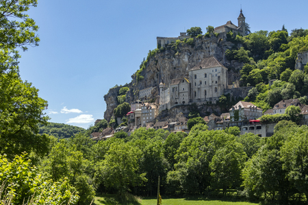 Rocamadour in the Lot department in southwestern France. Rocamadour has attracted visitors for its setting in a gorge above a tributary of the River Dordogne, and for its sanctuary of the Blessed Virgin Mary, which for centuries has attracted pilgrims from many countries.