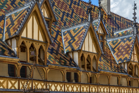 The Hospices de Beaune or Hotel-Dieu de Beaune, a medieval hospital in the town of Beaune in the Burgundy region of eastern France. Founded in 1443, it is a former charitable almshouse. Editorial