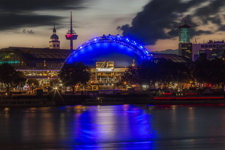 Nightlife on the waterfront of the Rhine in Cologne in the federal state of North Rhine-Westphalia, Germany.