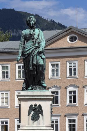 Memorial statue of composer Wolfgang Amadeus Mozart in Mozartplatz in the city of Salzburg, Austria.