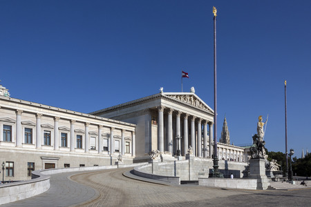 Parliament Buildings on Ringstrabe in Vienna, Austria. The Austrian Parliament is the bicameral legislature in Austria. It consists of two chambers: the National Council (Nationalrat) and the Federal Council.